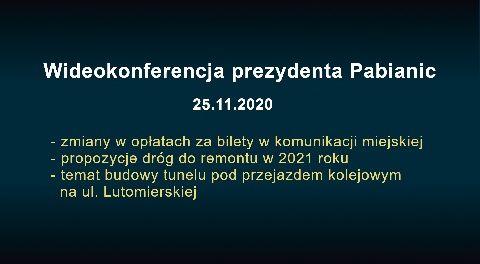 Wideokonferencja prezydenta Pabianic 2020-11-25